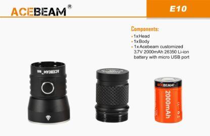 AceBeam E10 Rechargeable Mini Thrower - White LED (562m)-18124