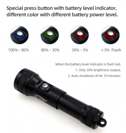 Hi-Max HD01 Rechargeable Dive Torch - 1300 Lumens (Red)-17310