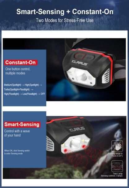 Klarus HM1 Smart-Sensing Rechargeable Lightweight Headlamp-17260