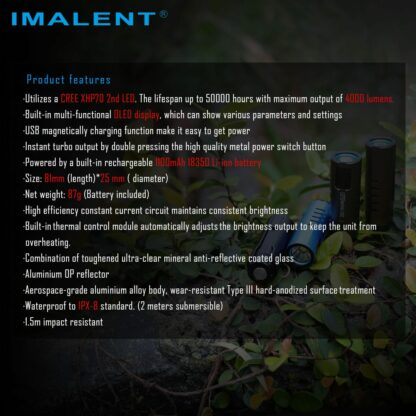 Imalent LD70 Compact Rechargeable Torch (Green)- 4000 Lumens-17553