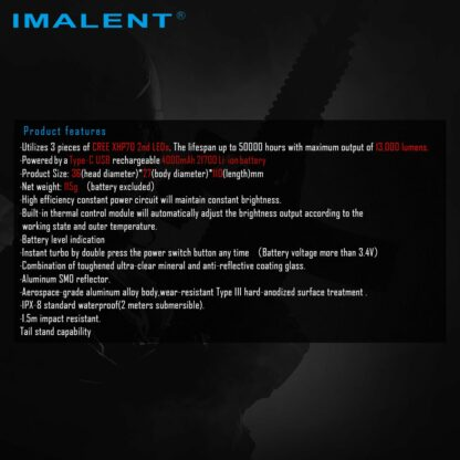 Imalent MS03 Rechargeable Torch - 13000 Lumens-17450