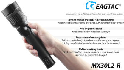 EagleTac MX30L2-R Rechargeable Security Torch (4500 Lumens)-17823