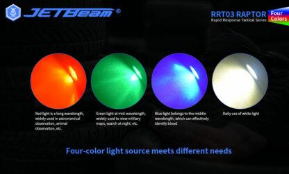 JETBeam RRT03 Raptor - Red, Green, Blue, White Light- 1400 Lumens-17623