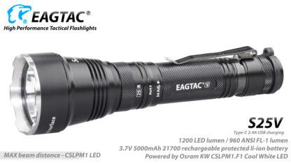 Eagletac S25V USB-C Rechargeable Flashlight - 660 Metres Throw -17734