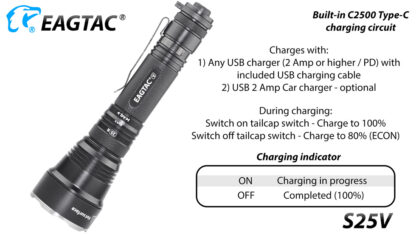 Eagletac S25V USB-C Rechargeable Flashlight - 660 Metres Throw -17736