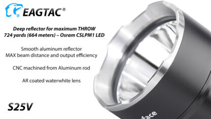 Eagletac S25V USB-C Rechargeable Flashlight - 660 Metres Throw -17727