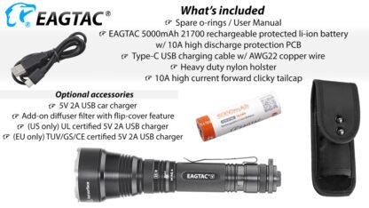 Eagletac S25V USB-C Rechargeable Flashlight - 660 Metres Throw -17724