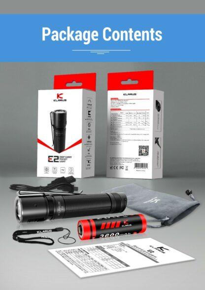Klarus E2 Compact Rechargeable EDC Pocket Torch - 1600 Lumens-18145