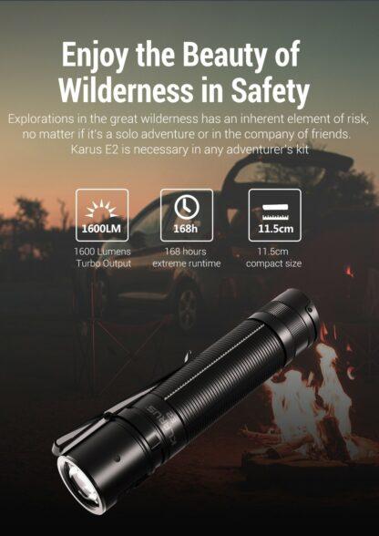 Klarus E2 Compact Rechargeable EDC Pocket Torch - 1600 Lumens-18150