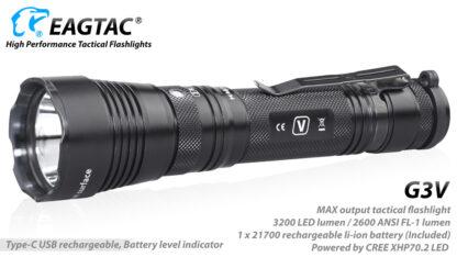 Eagletac G3V USB-C Rechargeable Tactical Flashlight (3200 Lumens)-18650