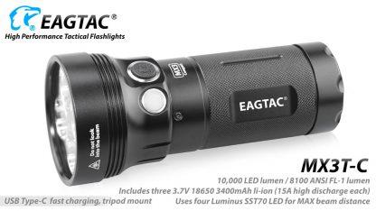 Eagletac MX3T-C USB-C Rechargeable Compact Flashlight/Power Bank - 10000 Lumens-18868