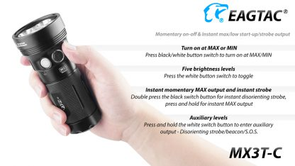 Eagletac MX3T-C USB-C Rechargeable Compact Flashlight/Power Bank - 10000 Lumens-18866