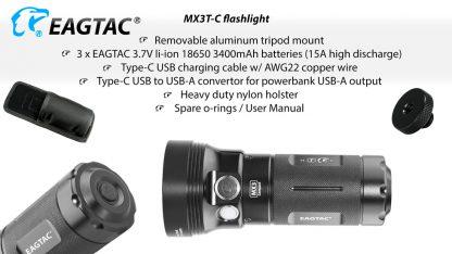 Eagletac MX3T-C USB-C Rechargeable Compact Flashlight/Power Bank - 10000 Lumens-18859