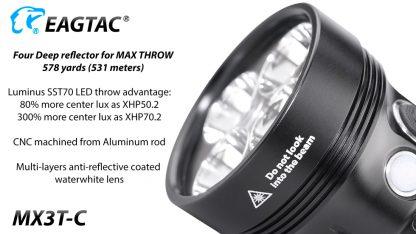 Eagletac MX3T-C USB-C Rechargeable Compact Flashlight/Power Bank - 10000 Lumens-18869