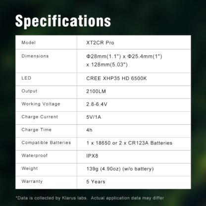 Klarus XT2CR Pro USB Type-C Rechargeable Flashlight - 2100 Lumens-18830