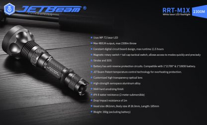 JETBeam RRT-M1X White Laser Flashlight - 2300 Metres-19289