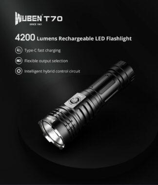 Wuben T70 USB-C Rechargeable Flashlight - 4200 Lumens-19336