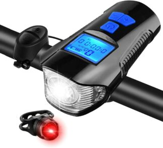 Hi-Max Rechargeable Bicycle Light with Horn and Speedometer, and 3V Rear Tail Light-0
