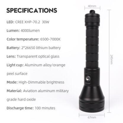 Hi-Max H17 Professional Dimmable Scuba Diving Light - 3800 Lumens -20295