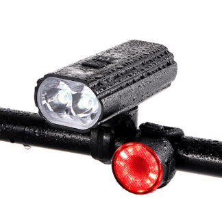 Hi-Max Rechargeable Bicycle Headlight (1800 Lumens) and Tail Light Set-0