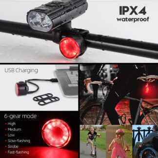 Hi-Max Rechargeable Bicycle Headlight (1800 Lumens) and Tail Light Set-20216