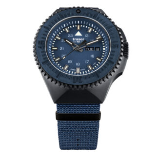 Traser P69 Black Stealth NATO Band Watch in Blue