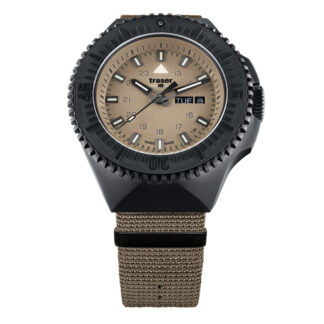 Traser P69 Black Stealth NATO Band Watch in Sand